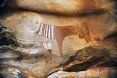 A cave painting in Laas Geel. A complex of caves and rock shelters in northwestern Somalia that is famous for its cave paintings. The caves contain some of the earliest known rock art in the Horn of A...