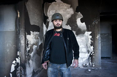 A portrait of rebel fighter Abdullah-Mohamed. On 17 February 2011 Libya saw the beginnings of a revolution against the 41 year regime of Col. Muammar Gaddafi.