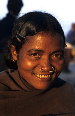 A Kondh tribal woman, at the Kunduli weekly Tribal Market, with nose rings.