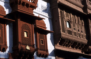 A traditional Merchant's Mansion (Haveli) made of red sandstone.