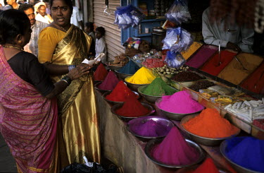Tikka cosmetic powders being sold on a stall in the Devaraja Market.
