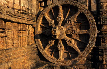 One of twenty four sandstone chariot wheels carved on the temple plinth of the 13th Century CE Sun Temple at Konark.