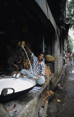 A hot milk vendor.