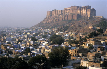 The 15th Century CE Mehrangarh Fort, at dawn. The fort stands 400 feet above the city of Jodhpur, known as the Blue City.