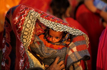 A woman protects her baby from the sun at a camel festival.