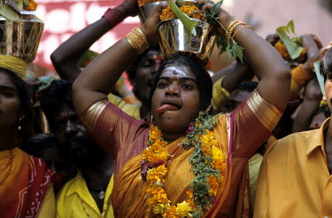 A woman taking part in the Shivaratri Festival.
