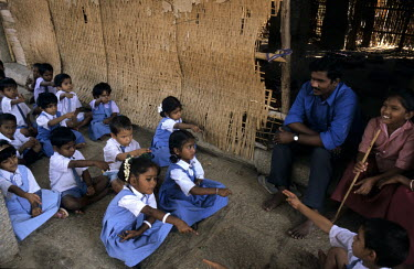 School children during a lesson at a primary school in Hampi.
