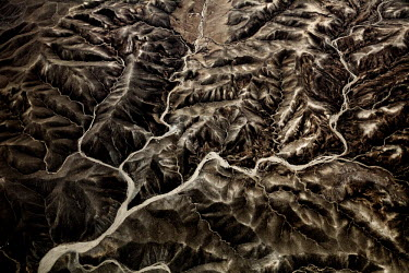 An aerial view of the mountains surrounding Kabul.