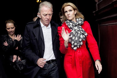 Opposition party Danish Social Democrats leader Helle Thorning-Schmidt campaigns on a street the day before the national parliamentary election. She talks to the leader of the Socialist People's Party...