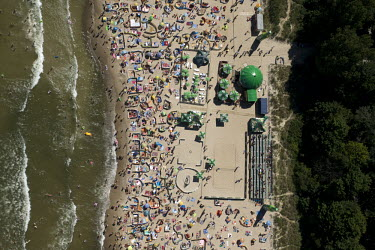 A crowded beach at Wladyslawowo on the Baltic Sea.