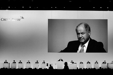 Chairman Han-Ulrich Doerig dominates the annual general meeting for shareholders of Credit Suisse. The Swiss banking industry holds an estimated 6,352 billion Swiss Francs (USD 7,000 billion) in asset...