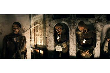 Bodies of men lie in the underground corridors in the Catacombs in Palermo. In 1599, Capuchin monks discovered that these catacombs contained a preservative that helped mummify dead bodies. As a resul...