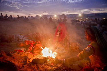 13 year old gypsy Anita Devi and her family prepare tea over a small fire in the early morning at the world's largest annual cattle fair in the desert town of Pushkar. Every year thousands of camel he...