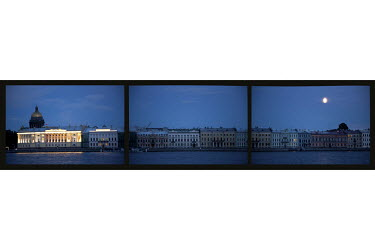 A view of buildings on the bank of the River Neva in St Petersburg.