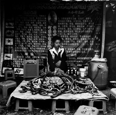 A Chinese man sells whole reptiles and reptile parts for medicinal�purposes on a stall in a market in Dali.