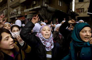 Schoolgirls demonstrate against the Syrian regeime in the centre of Zabadani, the only town in Syria officially held by the rebels. The hill town, which is surrounded by government forces, lives in co...