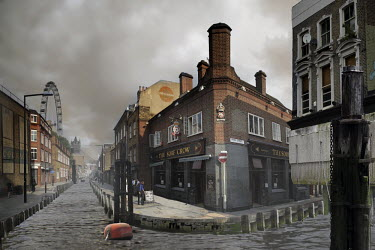 A composite, manipulated image showing the impact of climate change in an imagined future. Here, canals have replaced roads in London.