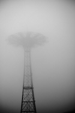 The Parachute Jump, an iconic but disused Coney Island landmark, shrouded in mist, Brooklyn, New York.