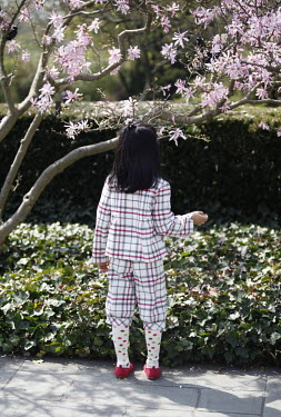 A young girl in a tartan suit and polka-dot tights looks at a magnolia tree at the Brooklyn Botanical Garden in New York.