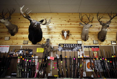 Hunting trophies displayed in a gun store in Idaho Falls.