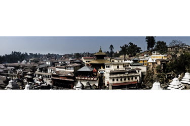 A panoramic image of the Pashupatinath Temple, a 17th Century CE Hindu temple erected by King Bhupendra Malla and a A UNESCO World Heritage Site.