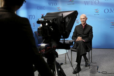 Pascal Lamy, Director of the World Trade Organisation (WTO), gives an interview.