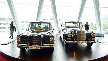 Mercedes limousines exhibited in the Mercedes-Benz museum in Stuttgart.