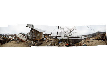 A composite panoramic image showing the devastated Paradise Trailer Park, in Highlands, New Jersey which was badly damaged by Tropical Storm Sandy, which hit New York and other parts of the north east...