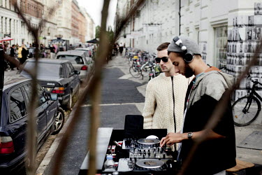 DJ's playing dub-house-music outside on Jaeggersborggade in Norrebro District.