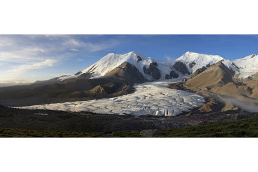 A glacier coming off Animaqin in Guoluo county. The snow mountain, like all with permanent snow in Tibet, is thought to have a protector warrior god. Animaqin's god is believed to be the overall prote...