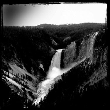 A waterfall in the Yellowstone National Park.