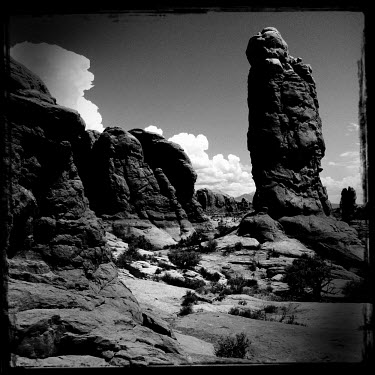 Rock formations in the Arches National Park.