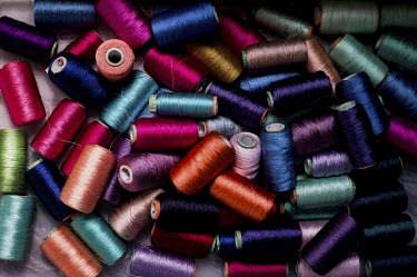 Spools of coloured threads in the Sophie 203 workshop in Jaipur.