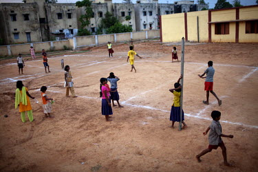Orphans of the Maoist (Naxalite) insurgency play cricket at an orphanage in Dantewada.