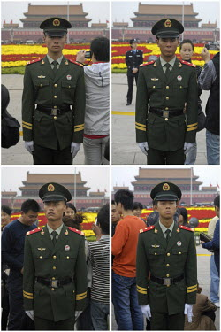 A photo collage of officers of the PAP (People's Armed Police) on guard in Tiananmen Square on Chinese National Day. This national paramilitary force is responsible for 'handling rebellion, riots, lar...