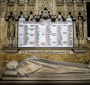 A memorial, in Canterbury Cathedral, Kent, to the soldiers of the East Kent Regiment (The Buffs) who died during campaigns in 'the Chitral and Punjab Frontier Campaigns' between 1895 and 1898.