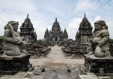 Two giant figures guard the temples at Sewu, an 8th Century Buddhist temple.