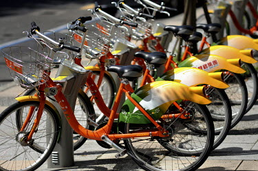 A row of cycles belonging to the city government's 'U Bike' scheme.