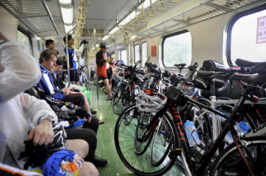 Bicycles and riders taking the train between Suao and Hualien on the east coast.