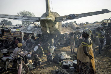 A makeshift camp built by around 30,000 internally displaced people near Bangui's Mpoko airport. Though food is short and sanitary conditions are poor, people have fled to the airport area where they...
