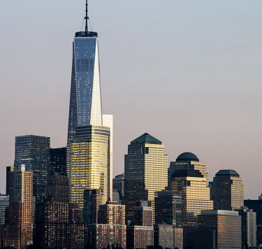 One of the newly built World Trade Center towers in Manhattan.