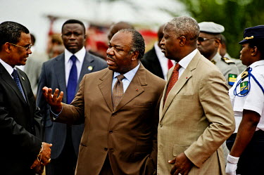 President Ali Bongo Ondimba speaking with the prime minister, Raymond Ndong Sima during an event  where the country's entire stockpile of Ivory, about 10 million US dollars worth, was burnt in an act...