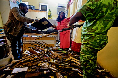 Seized weapons, used by poachers, are audited at the justice tribunal in Oyem before being transported to Libreville to be burnt along with confiscated ivory as part of Gabon's ceremonious 'ivory burn...