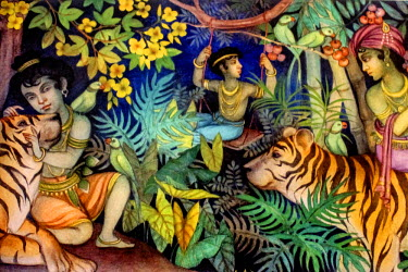A painting at the headquarters of 'Traffic', an international non-governmental organisation fighting illegal wildlife trade. The painting shows people interacting with tigers who are frequently target...