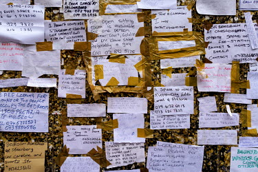 A street corner noticeboard in Hillbrow, the city's most notorious neighbourhood, serves to advertise spaces available for rent, a sitting room, a bedroom, a bed even a door space. Hillbrow is overcro...