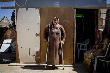 Reem, 34, pictured at her family's accommodation in Zahle, Lebanon. Reem lost her leg, her home, her husband and her daughter all in the same moment in October 2012 when a shell hit her house in Hama...