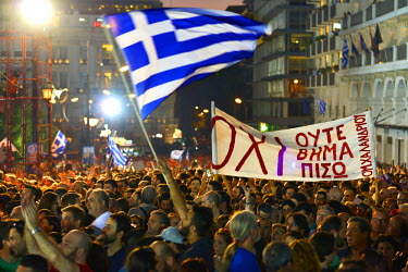 A large crowd supporting a 'No' vote gathered in Syntagma Square on the day before a national referendum to acceptance or reject economic reforms demanded by the country's creditors. The outcome could...