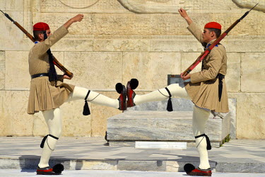 Honour Guards march in front of the Tomb of the Unknown Soldier outside the Greek Parliament, in Syntagma Square on the day before a national referendum to acceptance or reject economic reforms demand...