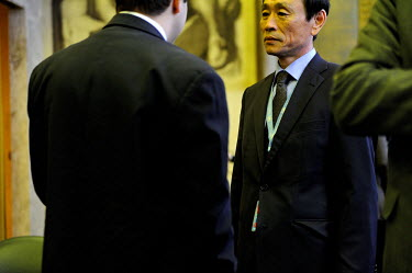 Jon Yong Ryong, First Secretary of North Korea's mission in Geneva, talks with a Cuban diplomat at the Conference on Disarmament.The Conference on Disarmament, established in 1979, is the only forum f...