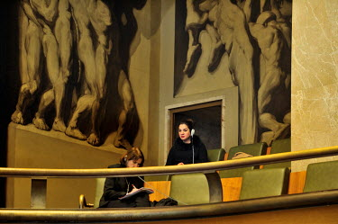 An Iraqi in the observer gallery during the year's opening session at the Conference on Disarmament. The Conference on Disarmament, established in 1979, is the only forum for nations to discuss multil...